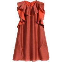 H&M Sukienka z falbanami 0276384001 Czerwona pomarańcza