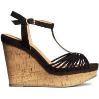 H&M Sandały na koturnie 0217477006 Czarny