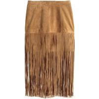 H&M Zamszowa spódnica z frędzlami 0326633001 Beżowy