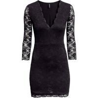 H&M Koronkowa sukienka 0256285001 Czarny