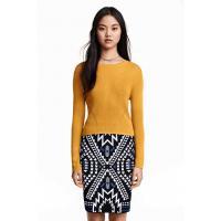 H&M Sweter z cienkiej dzianiny 0304707005 Musztardowożółty