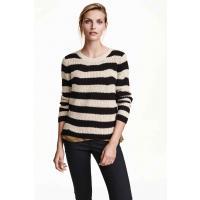 H&M Sweter z dzianiny w prążek 0308982009 J. brązowoszar/Paski