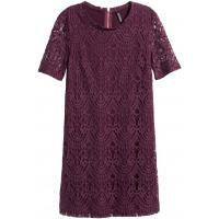 H&M Koronkowa sukienka 0318564009 Ciemnośliwkowy