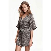 H&M Satynowe kimono 0215984001 Czarny/Wzór