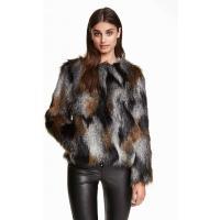 H&M Kurtka z imitacji futra 0335433001 Szary/Brązowy melanż
