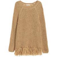H&M Sweter z frędzlami 0346027003 Beżowy