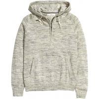 H&M Bawełniany sweter z kapturem 0346696001 Szary melanż
