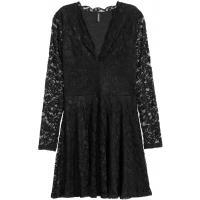 H&M Koronkowa sukienka w serek 0321216004 Czarny