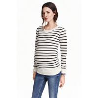 H&M MAMA Cienki sweter 0307014004 Biały/Paski