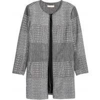 H&M Płaszcz z tkaniny z fakturą 0333898002 Czarny/Biały/Wzór
