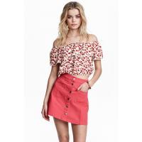 H&M Trapezowa spódnica 0366715014 Czerwony
