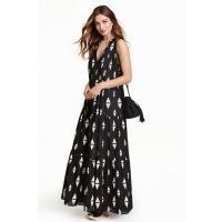 H&M Wzorzysta sukienka maxi 0391625002 Czarny
