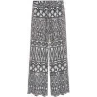 H&M Szerokie spodnie 0388795006 Naturalna biel/Wzór