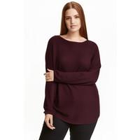 H&M H&M+ Cienki sweter 0371984003 Burgund
