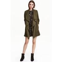 H&M Drapowany płaszcz 0320686007 Zieleń khaki
