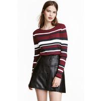 H&M Sweter w prążki 0402474008 Ciemnoczerwony/Paski