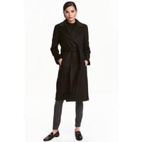 H&M Płaszcz z domieszką wełny 0409498005 Czarny