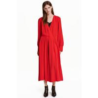 H&M Sukienka do połowy łydki 0429357002 Czerwony