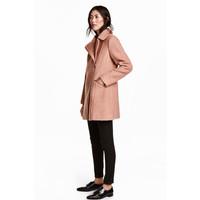 H&M Płaszcz z domieszką wełny 0411607001 Pudrowy