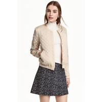 H&M Pikowana kurtka z haftem 0364664002 Beżowy/Złoty