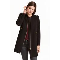 H&M Krótki płaszcz 0390169001 Czarny