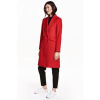 H&M Płaszcz z domieszką wełny 0416724003 Czerwony