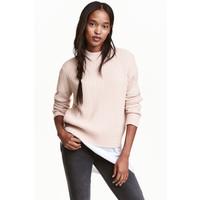 H&M Sweter w prążki 0405442008 Pudroworóżowy