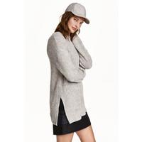 H&M Sweter oversize 0417411005 Jasnoszary melanż