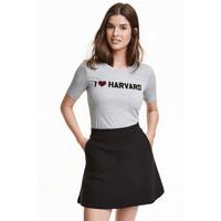 H&M Top z dzianiny w prążki 0440244001 Szary/Harvard