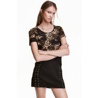 H&M Top z dżersejowej krepy 0380609008 Czarny/Panterka