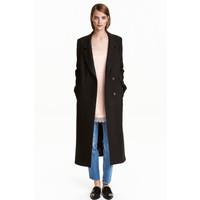 H&M Długi płaszcz z wełną 0424721002 Czarny