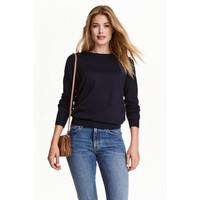 H&M Sweter z wełny merynosowej 0317458007 Ciemnoniebieski
