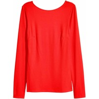 H&M Top z dżerseju w prążki 0425720007 Czerwony