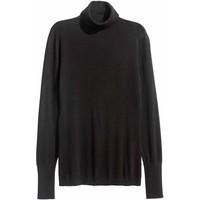 H&M Cienki sweter z golfem 0400466009 Czarny