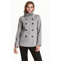 H&M Dwurzędowa kurtka 0390162001 Szary melanż
