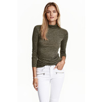 H&M Cienki sweter z półgolfem 0413538011 Ciemnozielony melanż