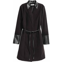 H&M Dopasowany płaszcz 0406134001 Czarny