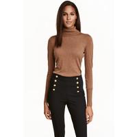 H&M Cienki sweter z golfem 0400466009 Brązowy melanż