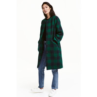 H&M Filcowy płaszcz 0416636001 Szmaragdowy/Krata