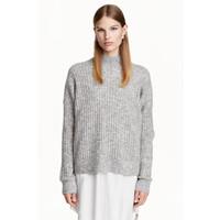 H&M Sweter z domieszką moheru 0425420001 Szary melanż