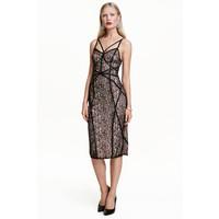 H&M Koronkowa sukienka 0437412002 Czarny/Pudrowy
