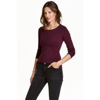 H&M Dżersejowy top 0355167013 Śliwkowy melanż
