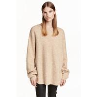 H&M Sweter oversize z moherem 0422441001 Jasnobeżowy melanż