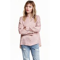 H&M Bluzka z długim rękawem 0430554007 Szaroróżowy