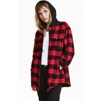H&M Kurtka koszulowa z kapturem 0398639001 Czerwony/Krata