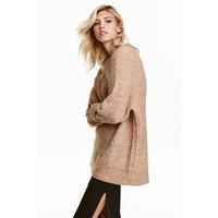 H&M Sweter oversize z moherem 0396387003 Beżowy melanż