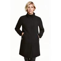 H&M Krótki płaszcz z wełną 0405977001 Czarny