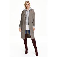 H&M Płaszcz w pepitkę 0437436001 Jasnobeżowy