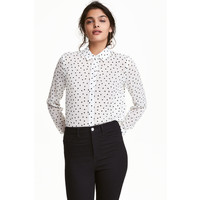 H&M Bluzka z długim rękawem 0430554007 Biały/Serce