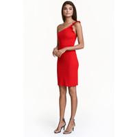 H&M Sukienka na jedno ramię 0430201004 Czerwony
